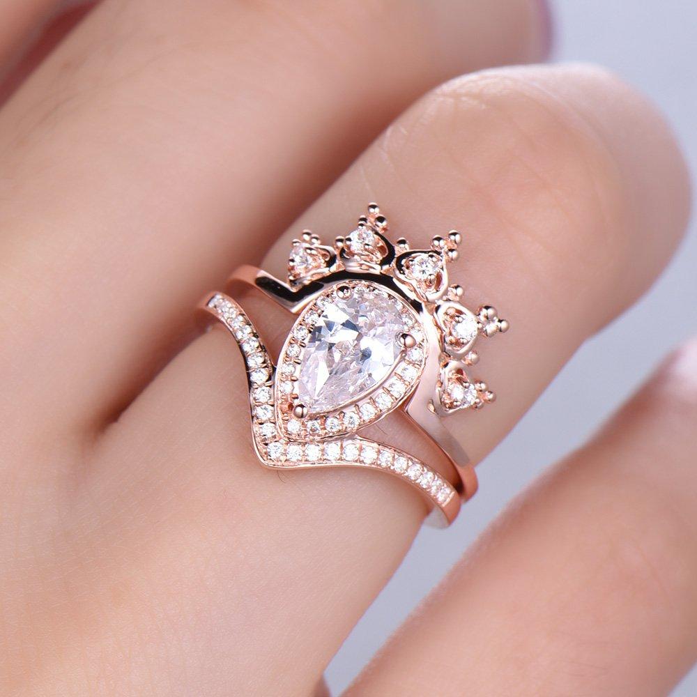 Amazon.com: CZ Cubic Zirconia Engagement Ring Set Pear Shape Halo ...
