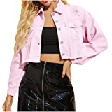 LifeShe Women Cropped Ripped Distressed Denim Jean Jacket Coat with Frayed Hem…