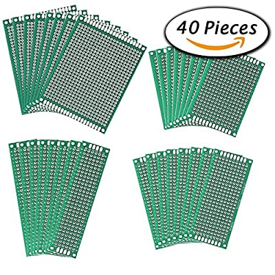 Paxcoo 40 Pcs Double Sided PCB Board Prototype Kit for electronic DIY projects, 4 Sizes