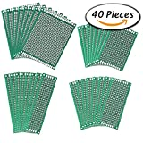 Image of Paxcoo 40 Pcs Double Sided PCB Board Prototype Kit for electronic DIY projects, 4 Sizes