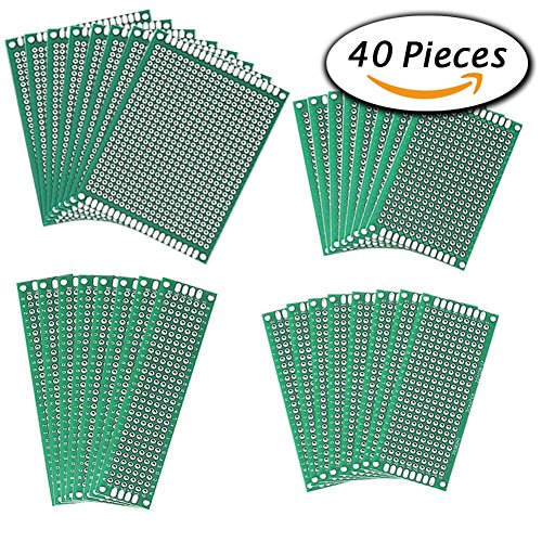 Paxcoo 40 Pcs Double Sided PCB Board Prototype Kit (4 size) Image
