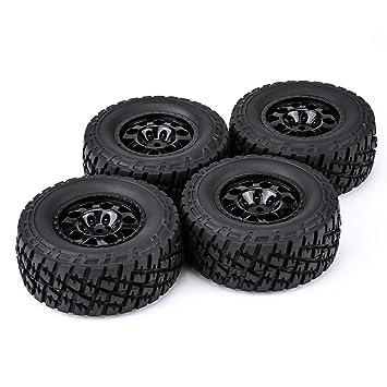 Dilwe 1:10 Camiones Neumáticos, 4Pcs RC Coche Tires Ruedas Llantas Hubs Accesorio para HSP HPI Tamiya TRAXXAX 1:10 Short Couse Truck(3005A): Amazon.es: ...