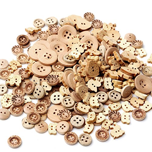Kocome 100pcs 2 Holes Natural Color Mix Shape Wooden Pattern Wood Sewing Buttons Wood Color Sewing Button