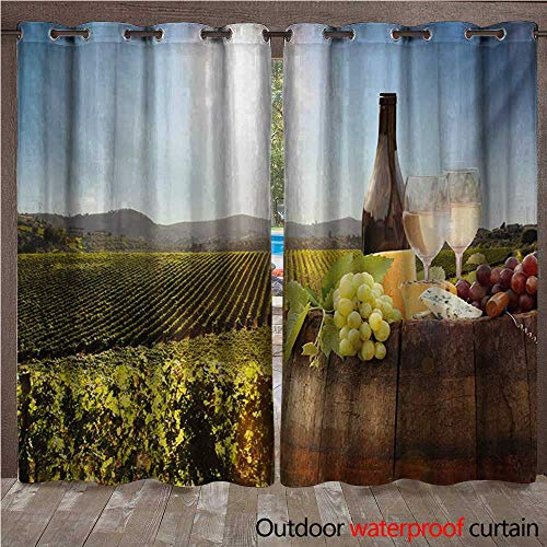 WilliamsDecor Wine Outdoor Curtains for Patio Sheer White Wine with Barrel on Famous Vineyard in Chianti Tuscany Agriculture W96 x L96(245cm x 245cm) -