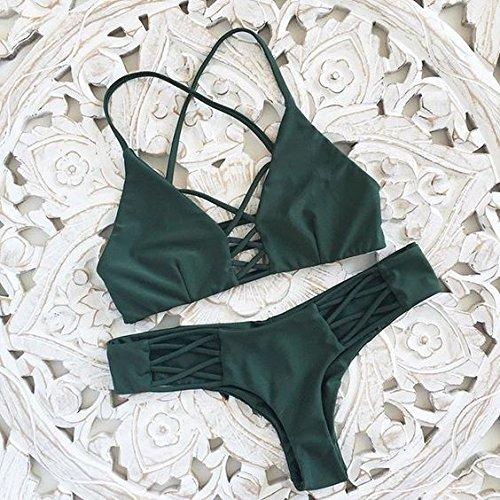 Puro Split Beachwear Dimagrante M Tianlu Sexy Bagno Verde Costume Benda Da Donna Fashion Verde Bikini Colore Moda Set qwxPwU0O