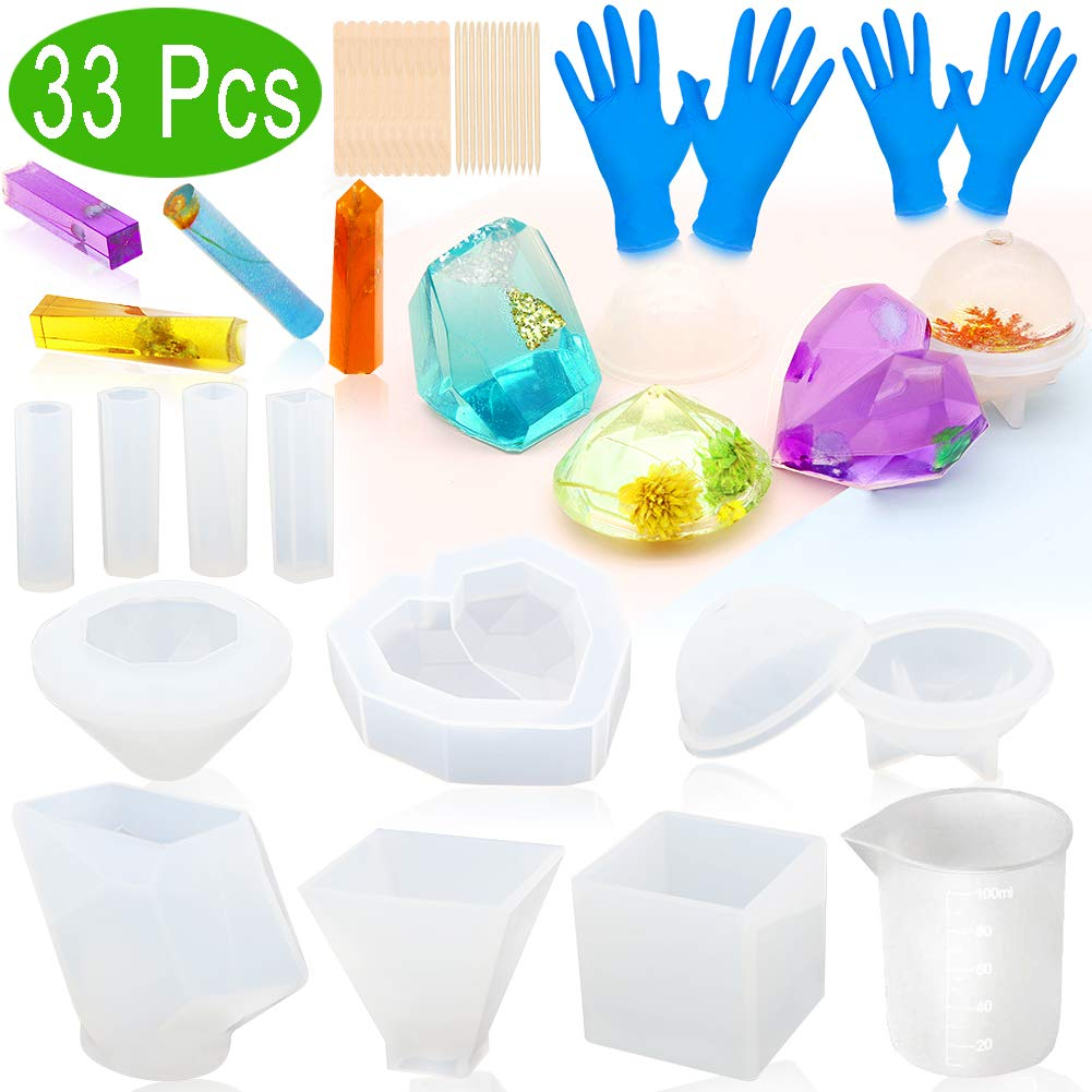 Resin Molds ZALALOVA 33Pcs Silicone Molds for Resin Large Clear DIY Epoxy Resin Molds Include Cube Pyramid Sphere Diamond Stone Love Resin Casting Molds w//Pendants Measuring Cup Wood Sticks Gloves