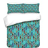 iPrint Duvet Cover Set,Surfboard,Aloha Hawaii Live Free Ocean Water Sports Inspired Pattern Coastal Inspirations Decorative,Multicolor,Best Bedding Gifts for Family Or Friends