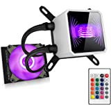 Liquid CPU Cooler, Aigo RGB LED 120mm Liquid CPU Cooler Radiator Easy Installation Water Cooler High Performance Liquid Freezer All-In-One Liquid Cooling System, INTEL/AMD with AM4 Support