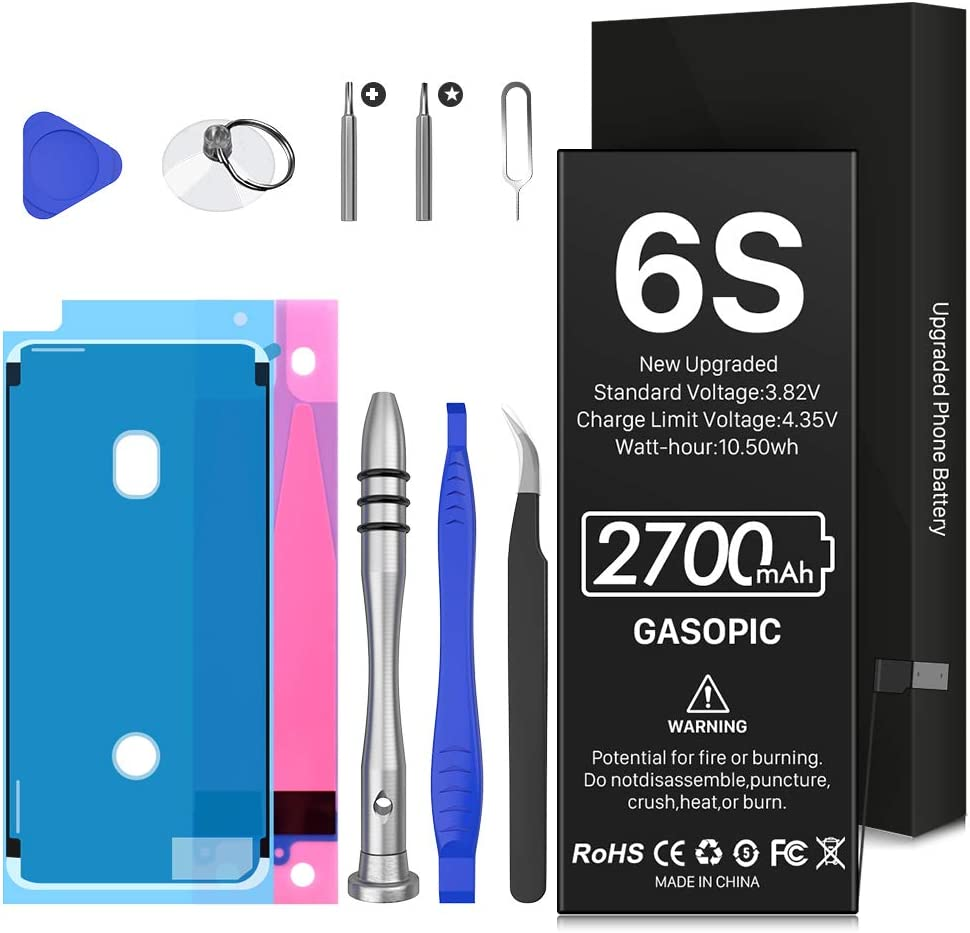 Battery for iPhone 6S (2021 New Version), 2700mAh High Capacity New 0 Cycle Replacement Battery for iPhone 6S Model A1633,A1688,A1700 with Repair Tools Kits