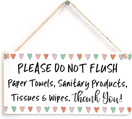 etc Thank You Cute Love Hearts Septic Tank Thank You Sign for Septic Toilet 10x5 Meijiafei Please DO NOT Flush Paper Towels