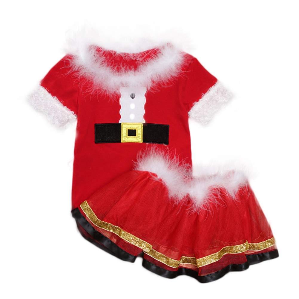 Bywell Weihnachtsoutfit Baby M/ädchen Weihnachts Kleid Kleinkind Weihnachten Bekleidung Set Baby Strampler Kleid Bodys T/üt/ü