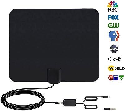Antena de TV, [Versión Mejorada] Antena Interior HDTV de Rango Amplificado de 95 km (60 millas) con Amplificador de Señal y Amplificador Avanzado y ...