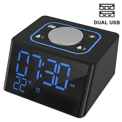 Reloj Despertador con Cargador USB, Reloj de Radio FM Hompot ...