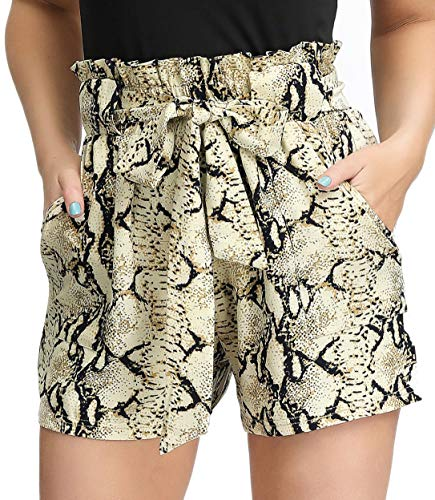 GRACE KARIN Women Bowknot Tie Waist Solid/Printed Summer Casual Shorts with Pockets (X-Large, Snake Skin)