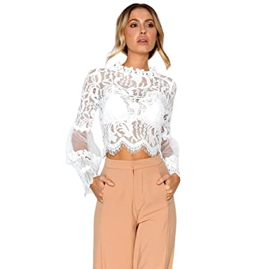 4620c6efa08ab0 💞ICE Cream Women s Long Sleeve Lace Mock Neck Crop Top Women Casual  Scalloped Trim Half Bell Sleeve Sheer Floral Lace Blouse at Amazon Women s  Clothing ...