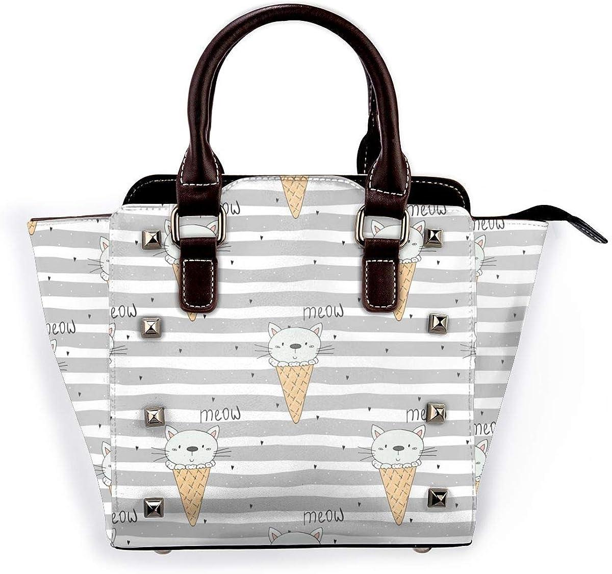 Bolso de hombro de piel auténtica con remaches de conejo para mujer, de alta gama, de alta gama, elegante Lindo Gatito.