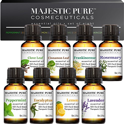 Majestic-Pure-Aromatherapy-Essential-Oils-Set-of-Top-8-10-ml-Pack-of-8-Includes-Lavender-Frankincense-Peppermint-Eucalyptus-Lemon-Clove-Leaf-Cinnamon-Leaf-Rosemary-Oils
