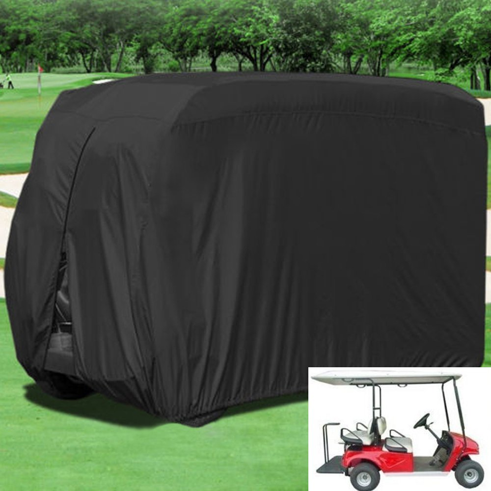 Lmeison 4 Passenger Golf Cart Covers, Waterproof Dustproof Golf Cart Cover Fits EZ GO, Club Car and Yamaha Golf Carts, Windproof and Durable, Black