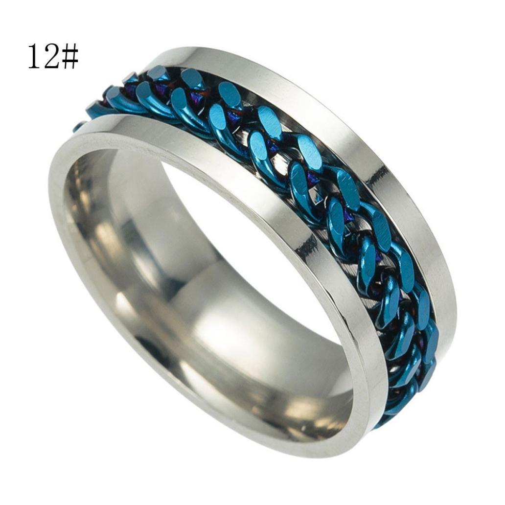 ASHOP Anelli Uomo, anello uomo anelli il signore degli anelli anello da uomo in acciaio da uomo in titanio con anello di rotazione (#12, Nero)