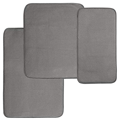 mDesign Absorbent Kitchen Countertop Dish Drying Mats - 3 Piece Set, Pewter/Ivory