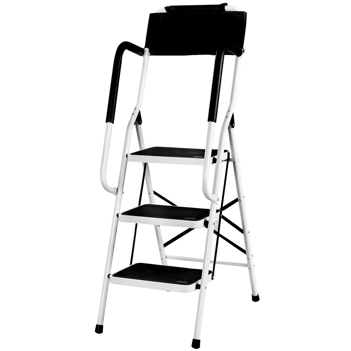Giantex Folding 3 Step Ladder W/Padded Side Handrails Non-Slip Steps Tool Pouch Caddy Lightweight Powerful Capacity