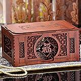 cosmetic storage box/Chinese-style storage box with lid/ retro cut finishing/ desktop creative jewelry box-A