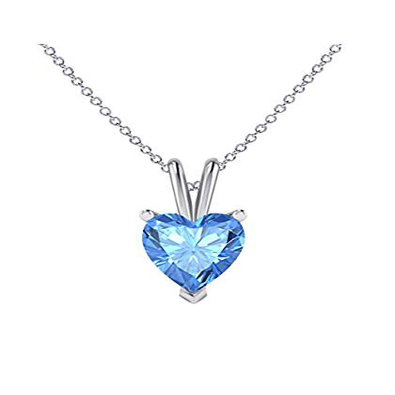 Silverraj Jewels Valentines Day Special 14K White Gold Plated Simulated Blue Topaz Studded Love Heart Pendant