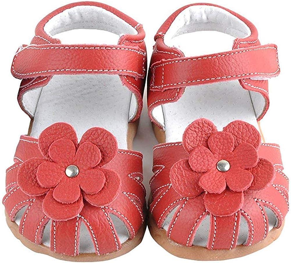 Toddler//Little Kid Femizee Girls Genuine Leather Soft Closed Toe Princess Flat Shoes Summer Sandals