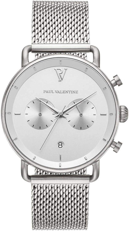 PAUL VALENTINE ® Reloj de Hombre con Correa de Malla de Acero Inoxidable, Cristal de Zafiro, Reloj Noble para Hombre con Mecanismo de Cuarzo japonés, A Prueba de Salpicaduras