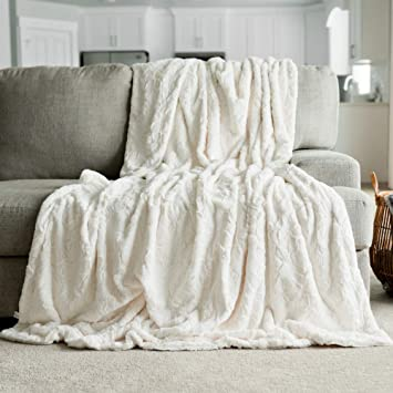 GRACED SOFT LUXURIES Softest Warm Elegant Cozy Faux Fur Home Throw Blanket  (Solid Ivory, Extra Large 60\
