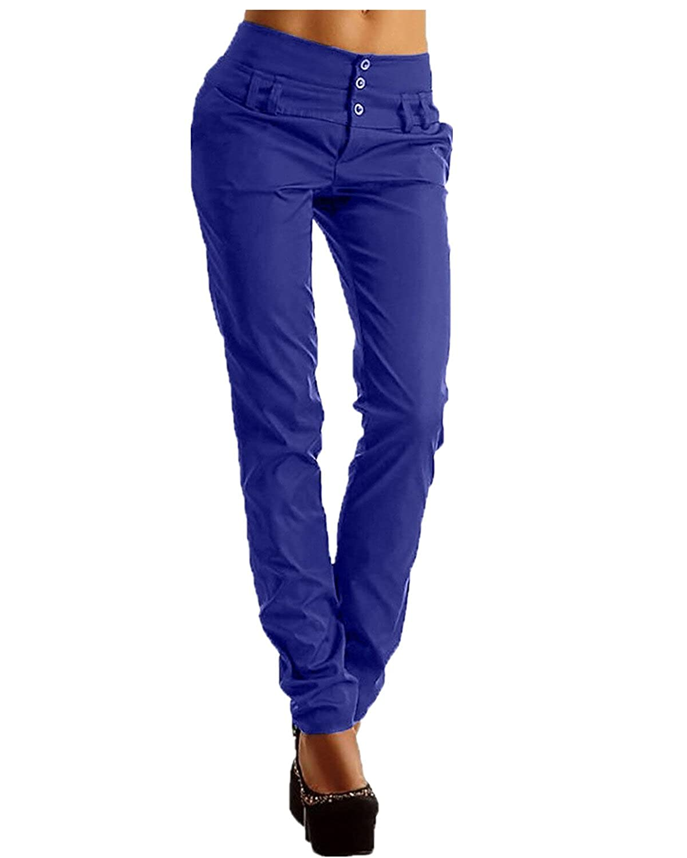 6714420e1246 StyleDome Femme Pantalon Minces Slim Taille Haute Casual Skinny Jambières  Crayon Legging ZANZEAWirzdolyfr8676