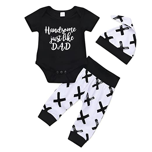 bf5c0c7b8e64 Handsome Just Like DAD Print Romper + Pants + Hat Baby Boy Outfits Clothes  Set (