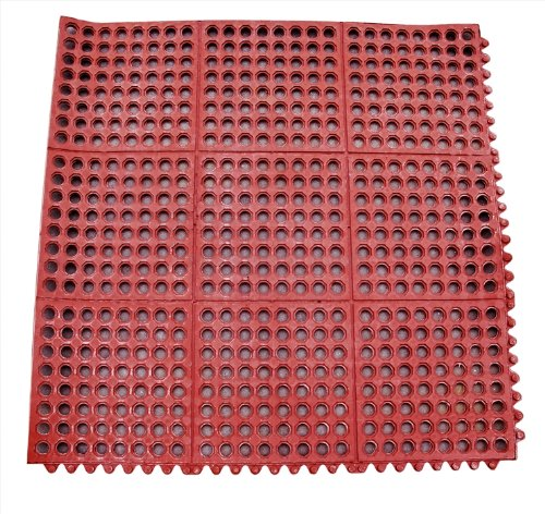 New Star 1 pc Heavy Duty Red 36x36 inch  Interlocking Restaurant / Bar  Grease Resistant Rubber Floor Mat