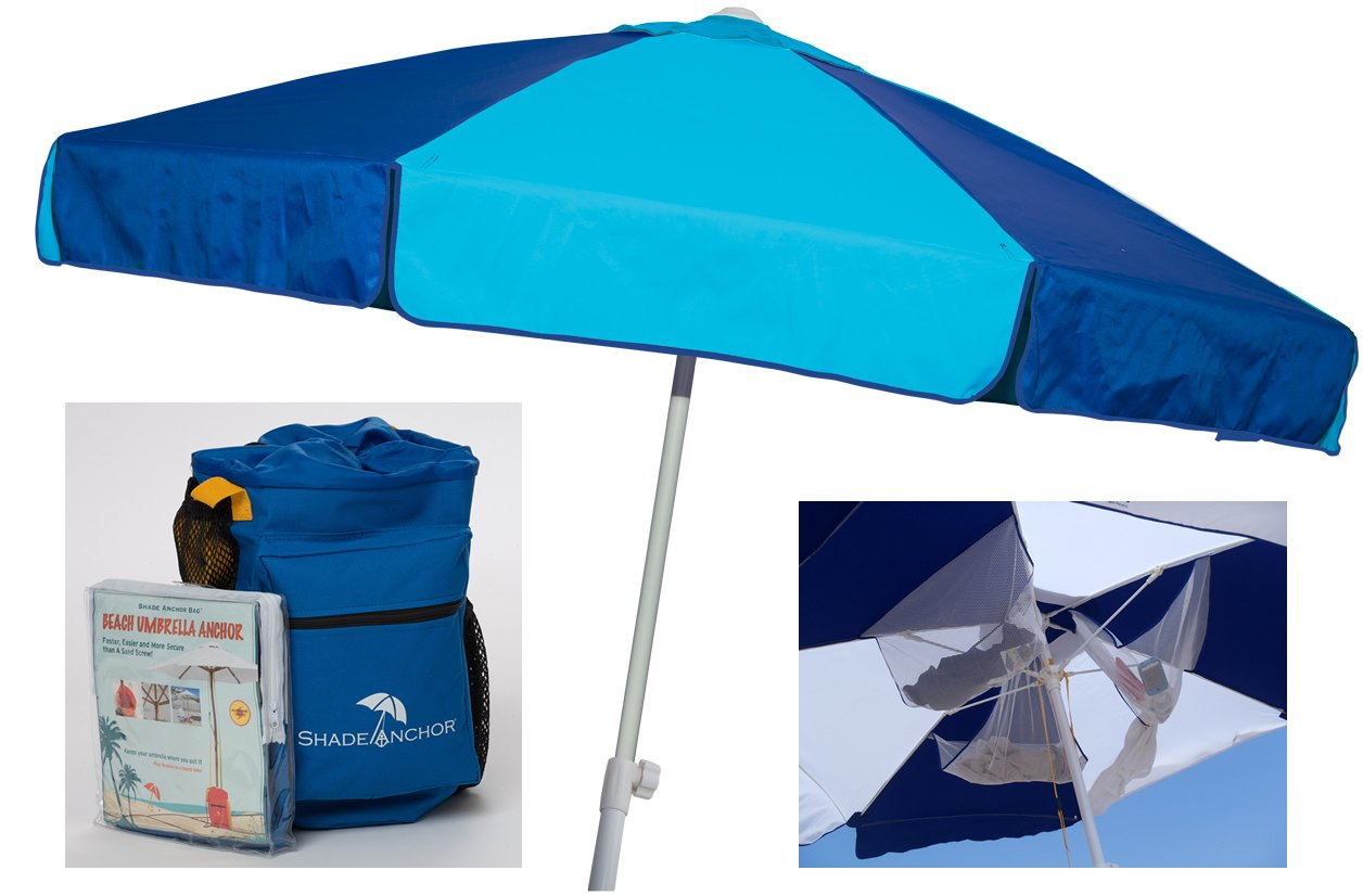 Buoy Beach Beach Umbrella with Sand Anchor Base Included Heavy Duty UPF 50 Windproof Umbrella with Shade Anchor Bag Blue Aqua