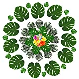 60 Pcs Tropical Party Decoration Supplies Artificial Faux Tropical Palm Monstera Leaves and Hibiscus Flowers, Simulation Plant Leaf for Hawaiian Luau Party Jungle Beach Theme BBQ Table Birthday Party