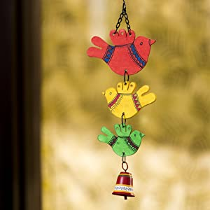 ExclusiveLane 'Feathered Friends' Hand-Painted Home Decorative Garden Balcony Hanging Bell (Multicolor)