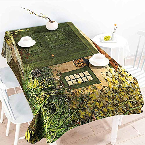 Homrkey Waterproof Tablecloth Rustic Decor Collection Cottage Door Overgrown Bushes Grass Tree Garden Brick Fairytale Countryside Image Green Ivory Yellow Washable Tablecloth W52 ()