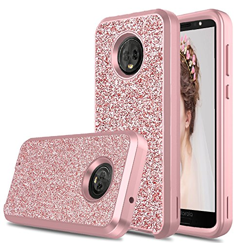 - Moto G6 Glitter Case, DONWELL Moto G6 Hybrid Three Layer Glitter Fashion Sparkly Bling Shockproof Protective Armor Cell Phone Case Cover for Motorola G (6th Generation) (Rose Gold)