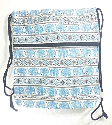 MY HOPE Drawstring Backpack - Elephant Pattern Cotton Bag with Front Zipper Compartment, Unisex, Blue Color, 14 x 17 ()