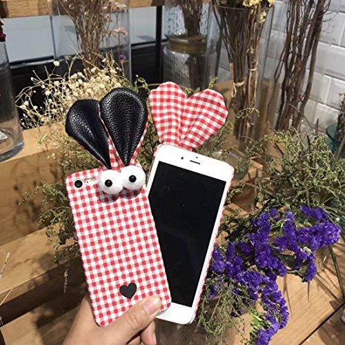 GHC Cases & Covers, Für iPhone 7 Kaninchen Ohren Grid Pattern PC Schutzhülle