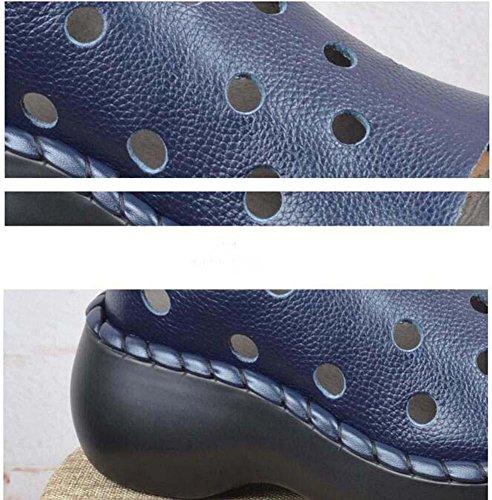 spiaggia spessa punta Piattaforma Cavo pigri Confortevole Scarpe Sandali Scarpe blue casual Respirabile Loafer Da Onfly Eu pedale 35 Scarpe Pelle da Attraversare 40 Scarpe donna Formato Pepe a OfBPw7wx