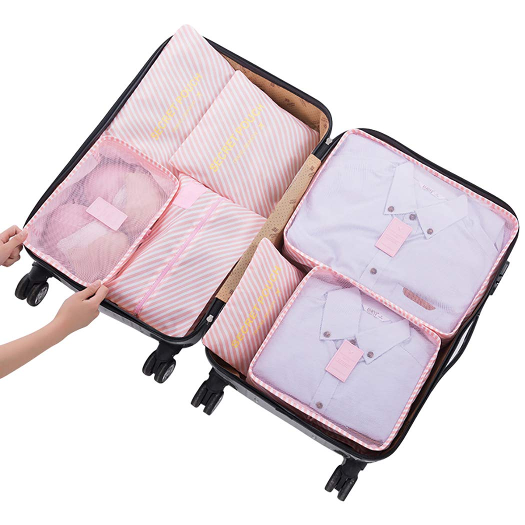 Stephenie Set of 7 Travel Storage Bag Luggage Organizer for Clothes Underwear Shoes Waterproof