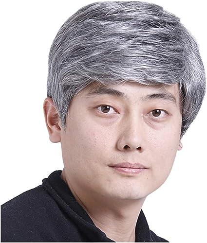 Peluca para hombre con síntesis de edad media, color gris ...