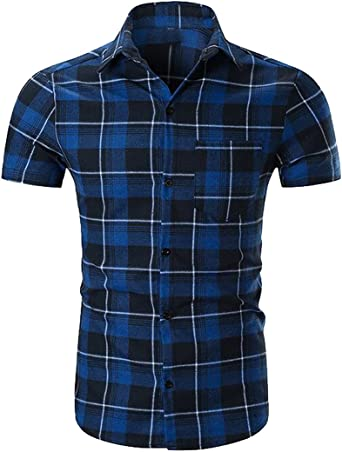 Men Fashion Short Sleeve Casual Tops Shirt Button Down Plaid Flannel Shirt