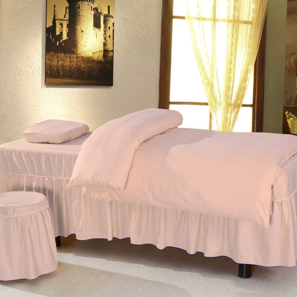 YXLJYH Pure Color 100% Cotton Massage Table Sheet Sets with face Rest Hole, Beauty Bed Cover Skirt Massage Bedspreads Medical Bed Skirt Sheet Spa Health Commercial Grade-Pink 70x190cm(28x75inch)