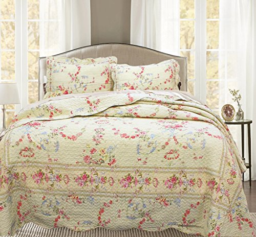 (Cozy Line Home Fashions Rose Romance Khaki Cream Yellow Floral Blooming Flower Printed Cotton Quilt Bedding Set Reversible Coverlet Bedspread Gifts for Women (Rose Romance, Twin - 2 Piece) )
