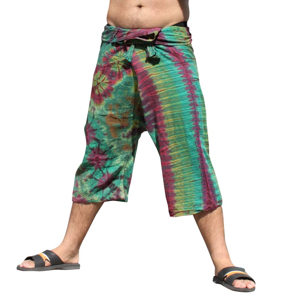 Full Funk Cotton Tie Dyed Natural Colorful Thai Fisherman Wrap 3/4 Leg Pants, Small, Multi Green by Full Funk