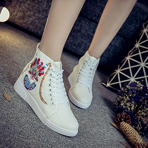 Rubber Opera Peking Embroidery Womens Flats Ankle AvaCostume Shoes White Sneaker I1w7AEqn