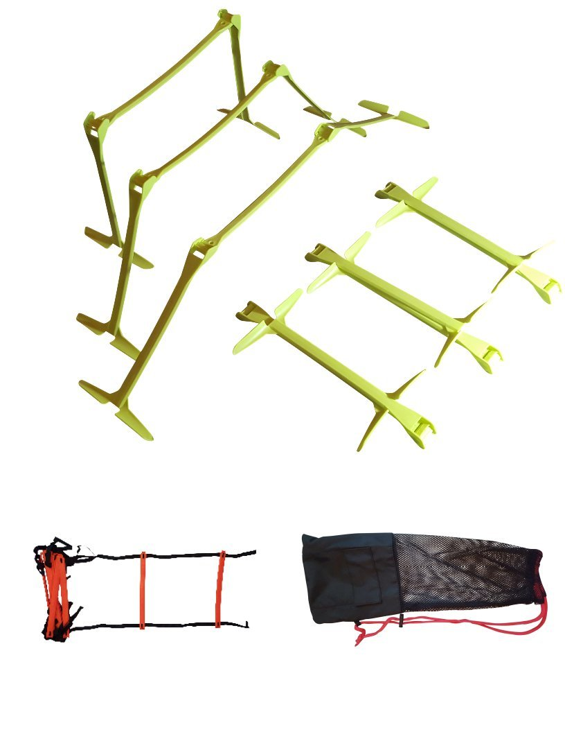 Soccer Training Equipment For Practice 6 Training Hurdles Adjustable To 3 Heights With Athletic Ladder And Agility Ladder Bag For Soccer Training and Sports