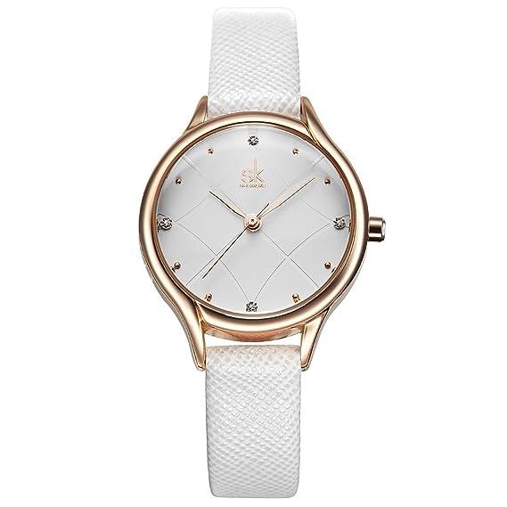 SK Woman Fashion Quartz Watch Elegant Diamond Wristwatch Girls Ultra-Thin Waterproof Wrist Watches (